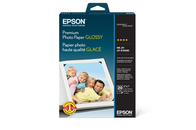 "Premium Photo Paper Glossy, Borderless, 5"" x 7"", 20 sheets"