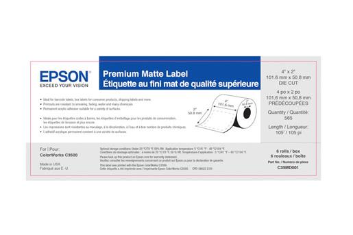 "Premium Matte Label, 4"" x 2"" DIE CUT, roll"