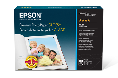 "Premium Photo Paper Glossy, Borderless, 4"" x 6"", 100 sheets"