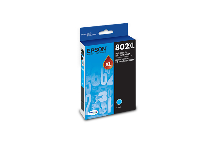 Epson T802XL, Cyan Ink Cartridge, High-capacity