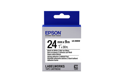 """LabelWorks Strong Adhesive LK Tape Cartridge ~1"""" Black on White"""