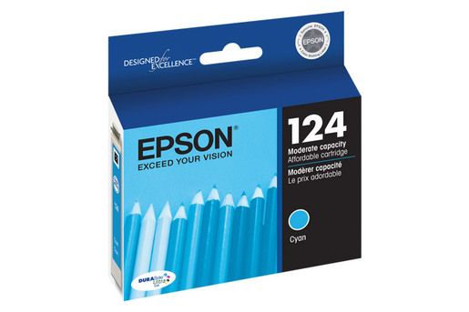 Epson 124, Cyan Ink Cartridge, Moderate Capacity