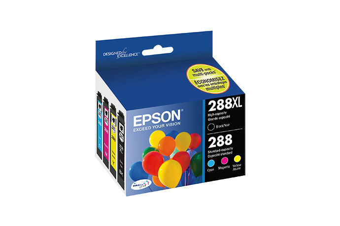 Epson 288XL, Black High Capacity and Color Standard Capacity Ink Cartridges, C/M/Y/K 4-Pack