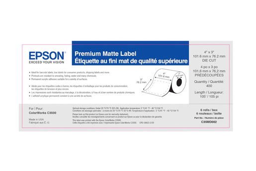 "Premium Matte Label, 4"" x 3"" DIE CUT, roll"