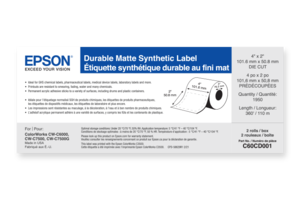 """Durable Matte Synthetic, 4"""" x 2"""" DIE CUT, roll, C6000/C7500 Series"""