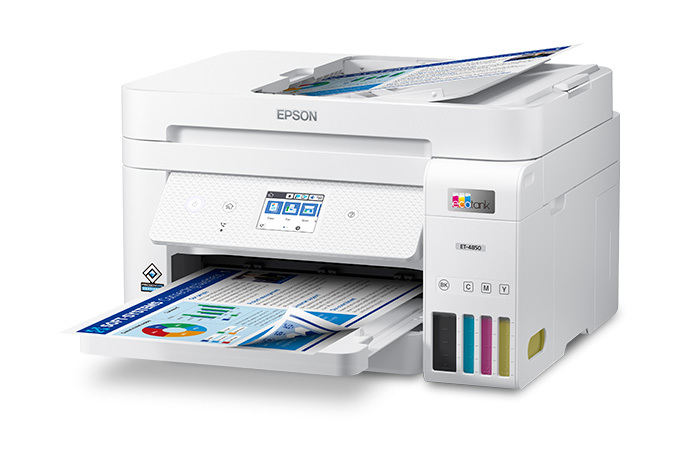 EcoTank ET-4850 Wireless Color All-in-One Cartridge-Free Supertank Printer with Scanner, Copier, Fax, ADF and Ethernet