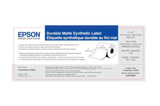 """Durable Matte Synthetic, 4"""" x 6"""" DIE CUT, roll"""