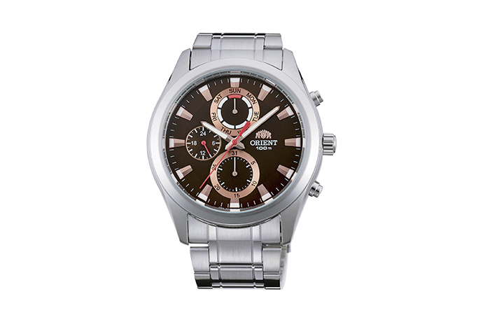Orient: Cuarzo Sports Reloj, Metal Correa - 41.0mm (UY07002T)