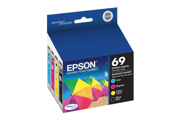 Epson 69, Black and Color Ink Cartridges, C/M/Y/K 4-Pack