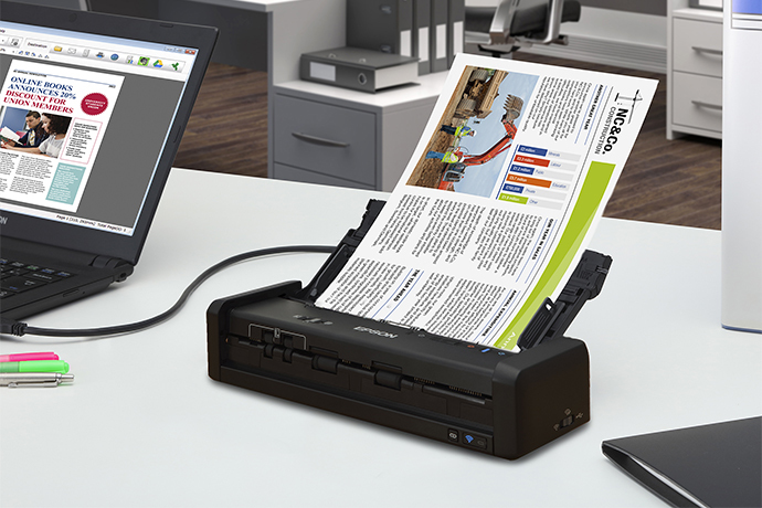 WorkForce ES-300W Wireless Portable Duplex Document Scanner with ADF