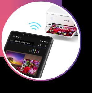 A mobile device wirelessly prints to an Epson EcoTank Photo Printer