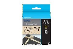 Fita LC de Tecido-Preto sobre bege-12mm