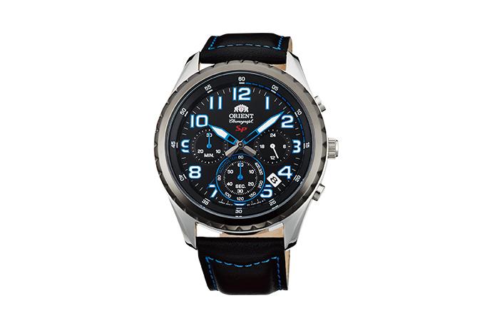 Orient: Cuarzo Sports Reloj, Cuero Correa - 44.0mm (KV01004B)