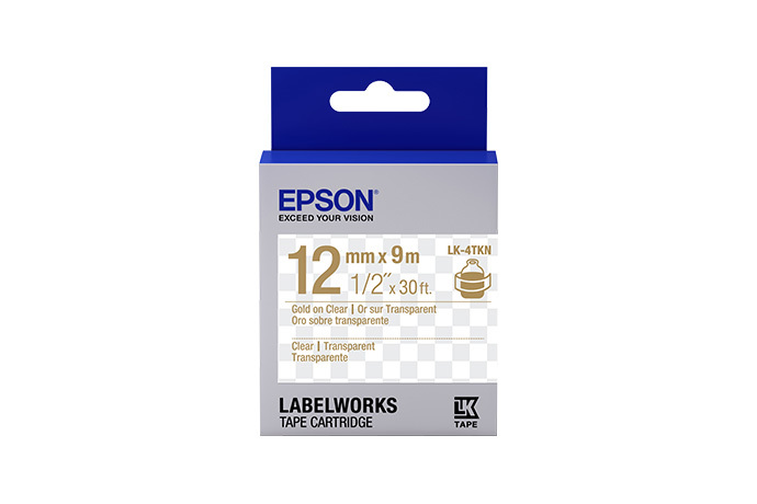 "LabelWorks Clear LK Tape Cartridge ~1/2"" Gold on Clear"