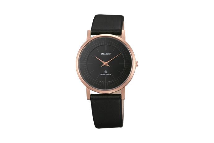 Orient: Cuarzo Contemporary Reloj, Cuero Correa - 35.0mm (UA07001B)