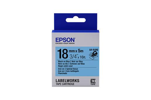 "LabelWorks Iron on (Fabric) LK Tape Cartridge ~3/4"" Black on Blue"