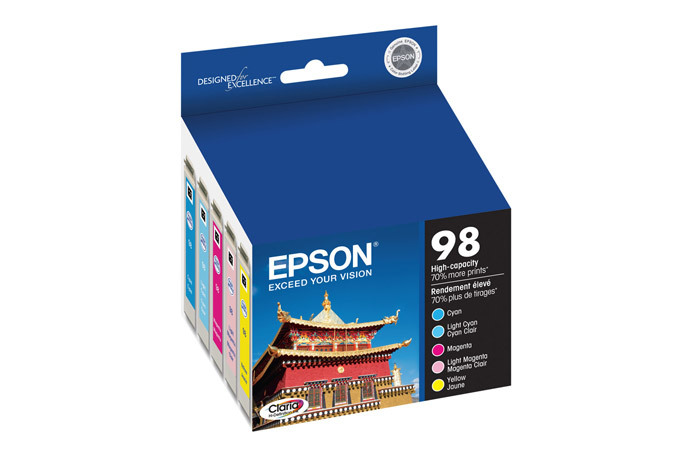 Epson 98, Color Ink Cartridges, High Capacity,  C/M/Y/LC/LM 5-Pack