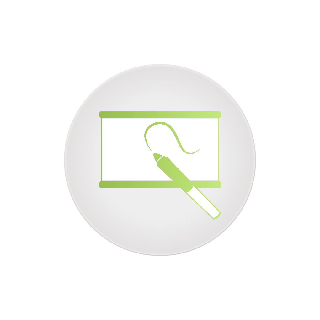 Icon of a projector screen with a green marker