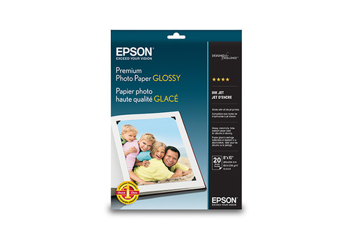 "Premium Photo Paper Glossy, Borderless, 8"" x 10"", 20 hojas"