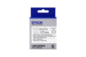 """LabelWorks Clear LK Tape Cartridge ~1/2"""" White on Clear"""