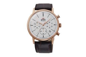 ORIENT: Quartz Classic Watch, Leather Strap - 42.4mm (RA-KV0403S)
