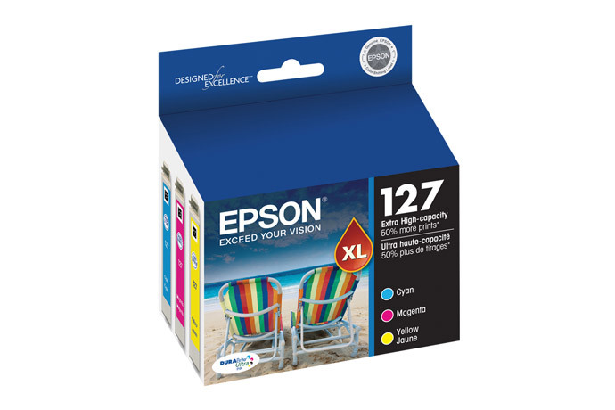 Epson 127, Color Ink Cartridges, Extra High Capacity, C/M/Y 3-Pack