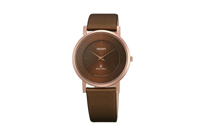 Orient: Cuarzo Contemporary Reloj, Cuero Correa - 35.0mm (UA07002T)