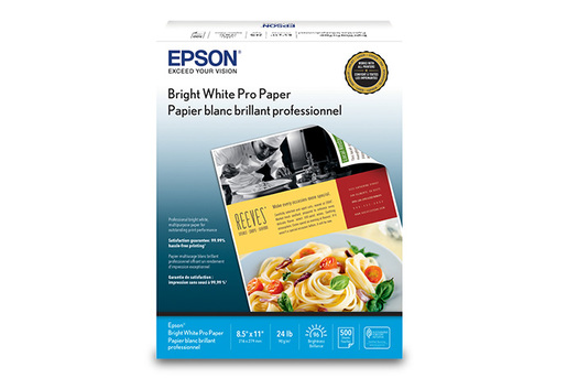 "Bright White Pro Paper, 8.5"" x 11"", 500 sheets"