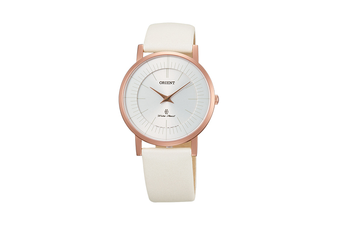 Orient: Cuarzo Contemporary Reloj, Cuero Correa - 35.0mm (UA07003W)