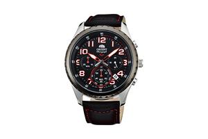 Orient: Cuarzo Sports Reloj, Cuero Correa - 44.0mm (KV01003B)