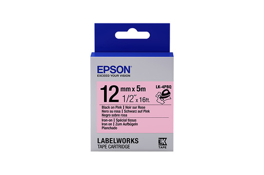 "LabelWorks Iron on (Fabric) LK Tape Cartridge ~1/2"" Black on Pink"