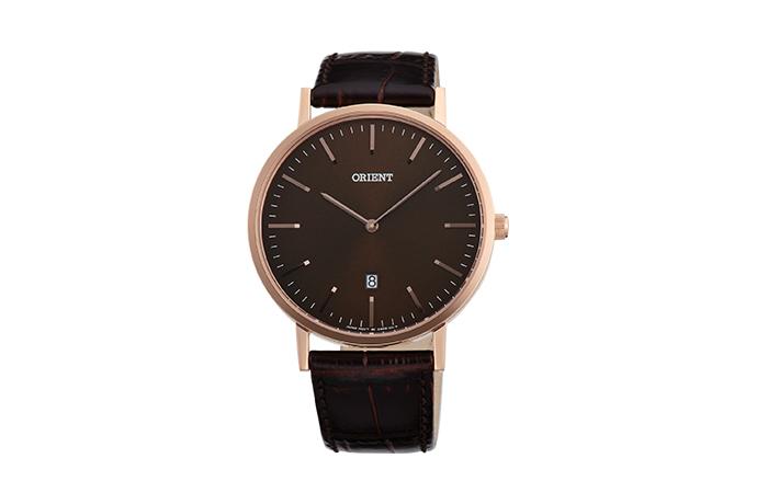 Orient: Cuarzo Contemporary Reloj, Cuero Correa - 40.0mm (GW05001T)