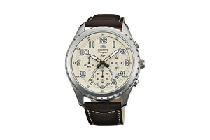 Orient: Cuarzo Sports Reloj, Cuero Correa - 44.0mm (KV01005Y)