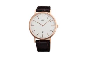 Orient: Cuarzo Contemporary Reloj, Cuero Correa - 40.0mm (GW05002W)