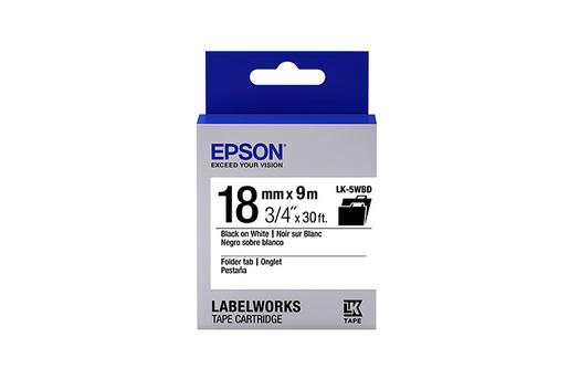 "LabelWorks Folder Tab LK Tape Cartridge ~3/4"" Black on White"