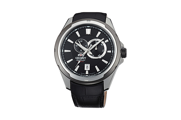 ORIENT: Mechanical Sports Watch, Leather Strap - 44.0mm (ET0V003B)