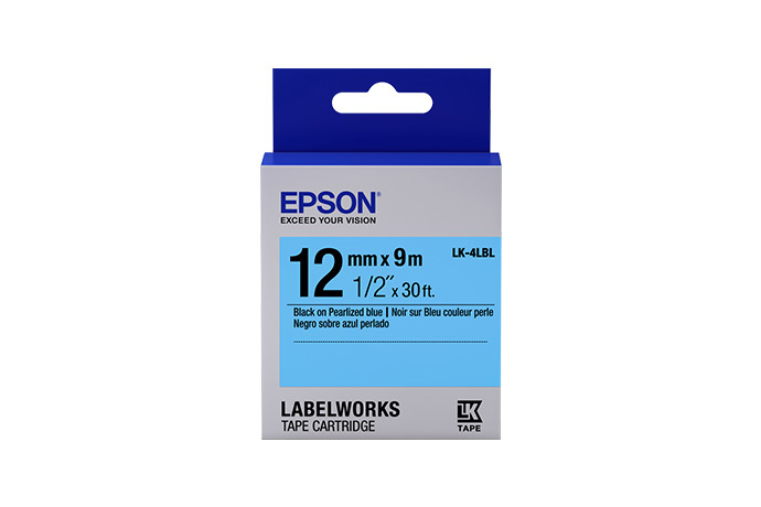 "LabelWorks Pearlized LK Tape Cartridge ~1/2"" Black on Pearlized Blue"