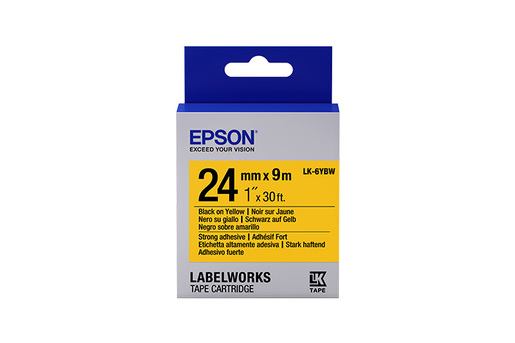 """LabelWorks Strong Adhesive LK Tape Cartridge ~1"""" Black on Yellow"""