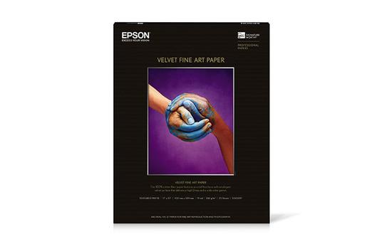 """Epson Velvet Fine Art Paper, 17"""" x 22"""", 25 hojas"""