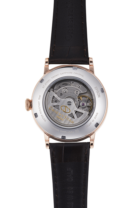 ORIENT STAR: Mechanical Classic Watch, Leather Strap - 38.7mm (RE-AW0003S)