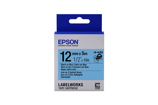 "LabelWorks Iron on (Fabric) LK Tape Cartridge ~1/2"" Black on Blue"