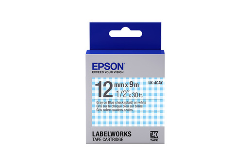 "LabelWorks Standard LK Tape Cartridge ~1/2"" Gray on Blue Check (Plaid)"