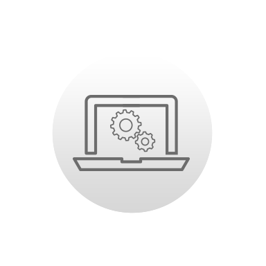 Icon of a laptop with gears on the screen