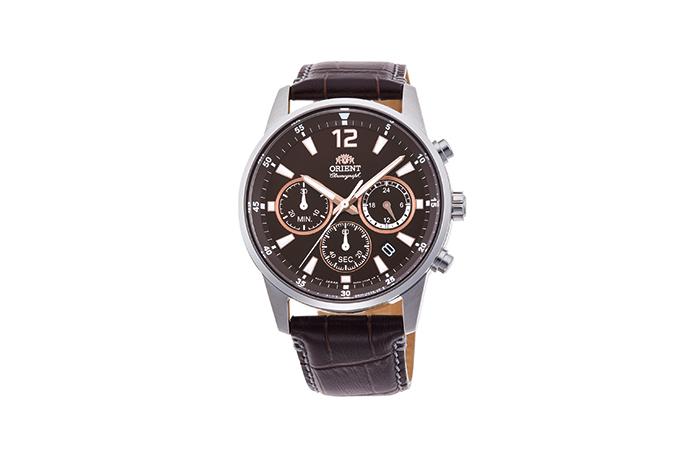 ORIENT: Cuarzo Sports Reloj, Cuero Correa - 42.0mm (RA-KV0006Y)