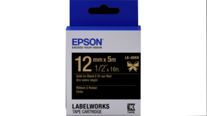 "LabelWorks Ribbon LK Cartridge ~1/2"" Gold on Black"