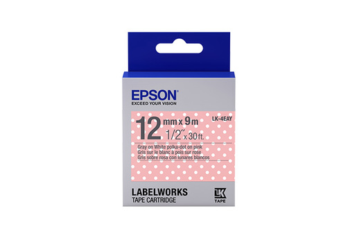 "LabelWorks™ Standard LK Tape Cartridge ~1/2"" Gray on Pink Polka-Dot"