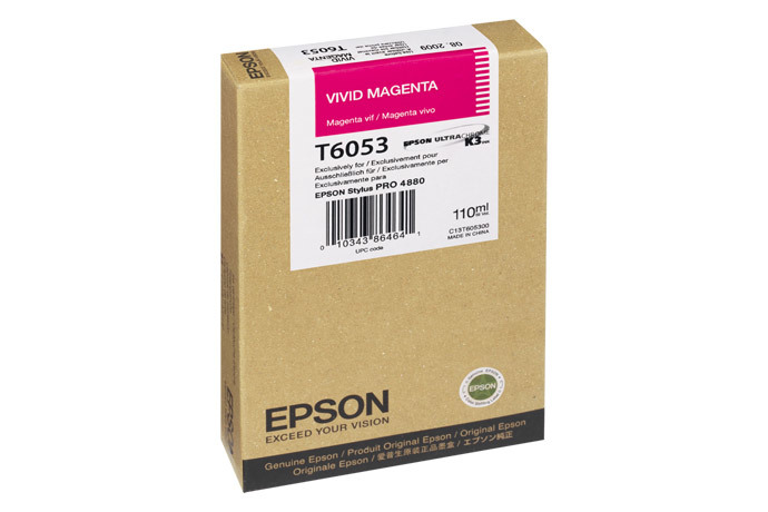 Epson T605, 110 ml Vivid Magenta UltraChrome K3 Ink Cartridge