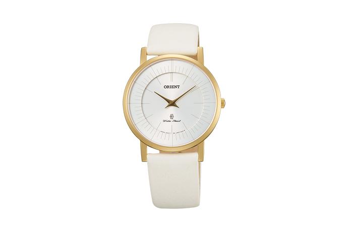 Orient: Cuarzo Contemporary Reloj, Cuero Correa - 35.0mm (UA07004W)