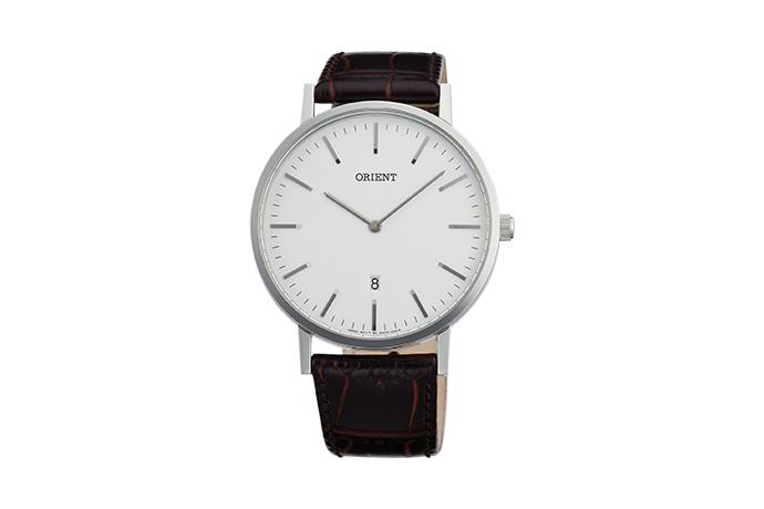 Orient: Cuarzo Contemporary Reloj, Cuero Correa - 40.0mm (GW05005W)