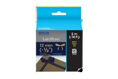 Fita LC de Tecido-Dourado sobre Azul marinho-12mm